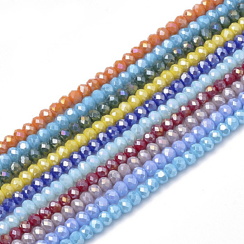 Electroplate Glass Beads Strands, AB Color, Faceted, Rondelle, Mixed Color, 6x4mm, Hole: 1mm; about 89pcs/strand, 15.6inches