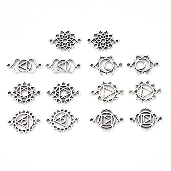 Tibetan Style Alloy Links connectors, Chakra, Cadmium Free & Lead Free, Antique Silver, 20x14x1.5mm, Hole: 1.2mm, 10pcs/set