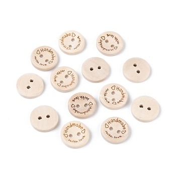Wooden Buttons, 2-Hole, with Word, Flat Round with Word Handmade with Love, Blanched Almond, 15x3mm, Hole: 2mm