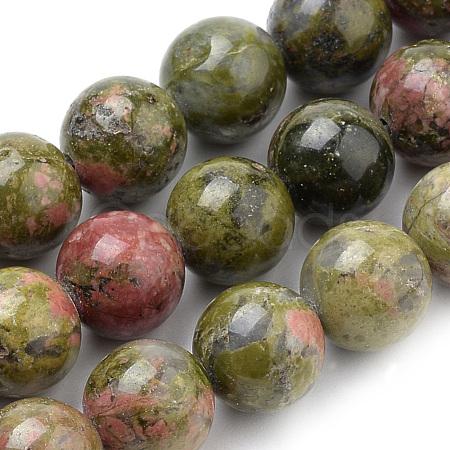 Natural Unakite Beads StrandsX-G-S259-14-8mm-1