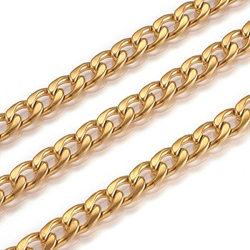 304 Stainless Steel Cuban Link Chains, Chunky Curb Chains, Unwelded, with Spool, Golden, 6mm