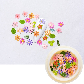 Paper Cabochons, Nail Art Decorations, Mixed Flower & Leaf, Mixed Color, 4~8x2~7x0.1mm; about 50pcs/box