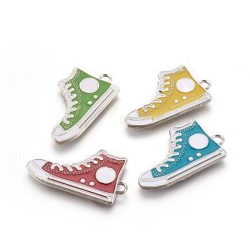 Alloy Enamel Pendants, Lie Fallow Shoes, Platinum, Mixed Color, about 30mm long, 17mm wide, 2mm thick, hole: 1.5mm