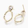Brass Cubic Zirconia Stud Earring FindingsKK-S354-230-NF-1