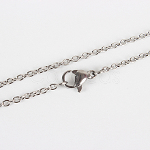 Classic Plain 304 Stainless Steel Mens Womens Cable Chain Necklace Making STAS-P045-01P