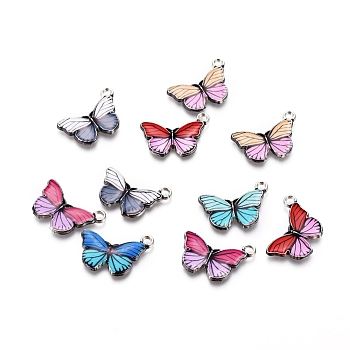 Antique Silver Plated Alloy Pendants, with Enamel, Butterfly, Mixed Color, 15x20x2mm, Hole: 1.8mm