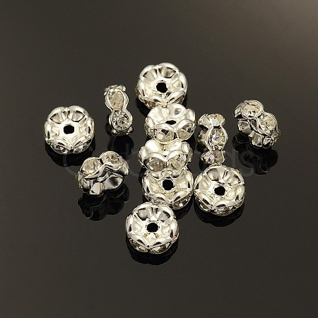 Brass Rhinestone Spacer BeadsX-RB-A014-L8mm-01S-1