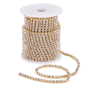 Brass Rhinestone Strass Chains, with Spool, Rhinestone Cup Chains, Raw(Unplated), Nickel Free, Crystal, 4mm, about 10yards/roll