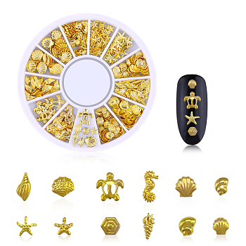 Alloy Cabochons, Nail Art Decoration Accessories, Golden, about 200pcs/box