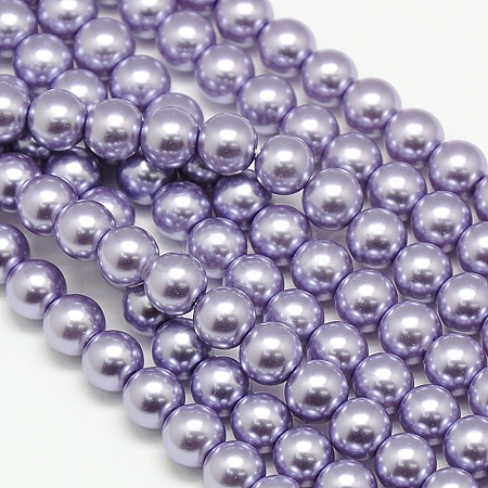 Environmental Dyed Glass Pearl Round Bead Strands X-HY-A002-8mm-RB028-1