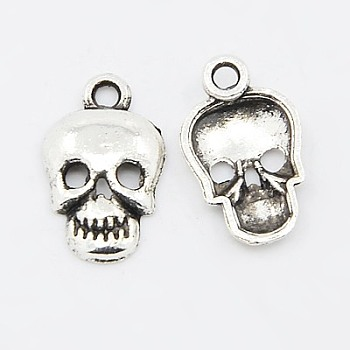 Tibetan Style Pendants, Cadmium Free & Lead Free, Skull, Halloween, Antique Silver, 16x10x2.5mm, Hole: 2mm