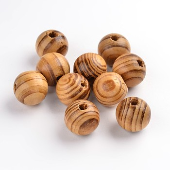 Round Wood Beads, Dyed, Lead Free, BurlyWood, 16x15mm, Hole: 4mm; about 450pcs/500g