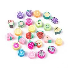 Handmade Polymer Clay Fruit Theme Beads X-CLAY-Q215-01