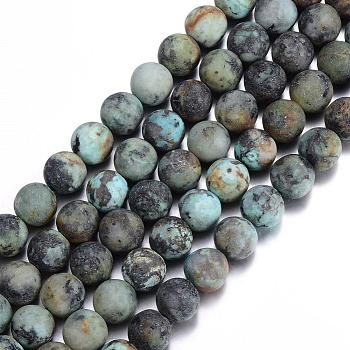 Frosted Natural African Turquoise(Jasper) Round Beads Strands, 8mm, Hole: 1mm; about 48pcs/strand, 15.5 inches