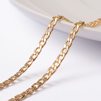 Vacuum Plating 304 Stainless Steel Twisted Chain Curb Chains, Unwelded, with Spool, Golden, 5x3x0.8mm; about 10m/roll