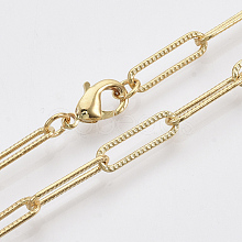 Brass Textured Paperclip Chain Necklace Making MAK-S072-01B-G