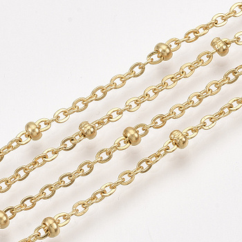 304 Stainless Steel Cable Chains, Satellite Chains, Soldered, with Spool, Golden, 2.5x2x0.5mm, about 32.8 Feet(10m)/roll