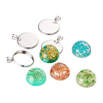 DIY Jewelry Pendant Making Sets, with Resin Dome Dried Flower Cabochons, Brass Pendant Settings, Flat Round, Colorful, 26x20x2mm, Hole: 5x3mm; Cabochon: 17.5~18x8.5~9.5mm; 10sets/box