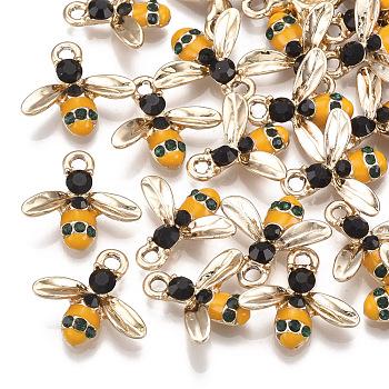 Alloy Enamel Pendants, with Rhinestone, Bees, Light Gold, Orange, 15x16.5x3.5mm, Hole: 2mm