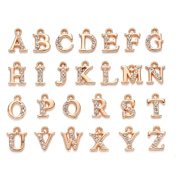 Light Gold Plated Alloy Rhinestone Charms, Alphabet, Letter A~Z, Crystal, 12.5~13.5x5.5~12x2.5mm, Hole: 1.4mm; 26pcs/set