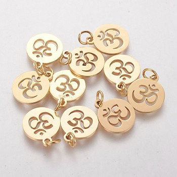 304 Stainless Steel Pendants, Flat Round with Ohm, Golden, 14x12x1.1mm, Hole: 3mm