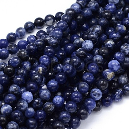 Round Natural Sodalite Beads StrandsG-F222-39-10mm-1