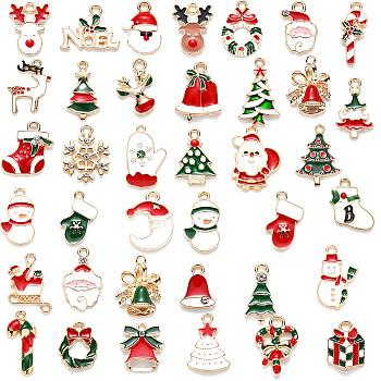 Alloy Enamel Pendants, for Christmas, Light Gold, Mixed Color, 12~27x7.5~19x1~3mm, Hole: 1.4~2mm, 38pcs/set