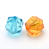 Mixed Color Transparent Acrylic Faceted Round BeadsX-PL990Y-2