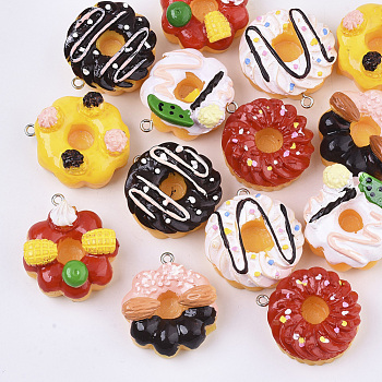 Resin Pendants, with Platinum Tone Iron Loop, Imitation Food, Cake, Mixed Color, 29.5~33x27~29.5x13.5~18mm, Hole: 1.8~2mm