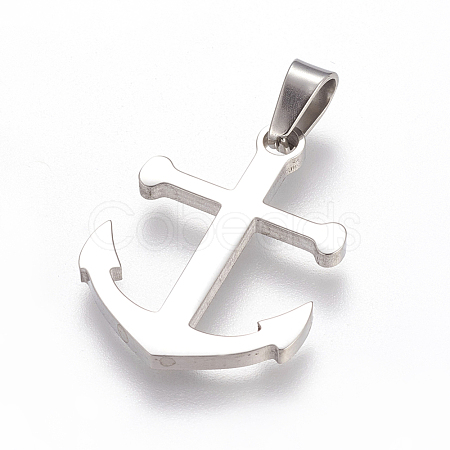 Trendy Necklace Findings Anchor 304 Stainless Steel PendantsX-STAS-L012-A26P-1
