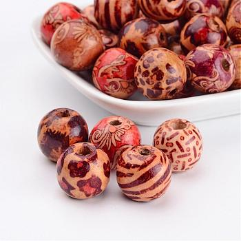 Round Printed Wood Beads, Mixed Color, 16x15mm, Hole: 5mm
