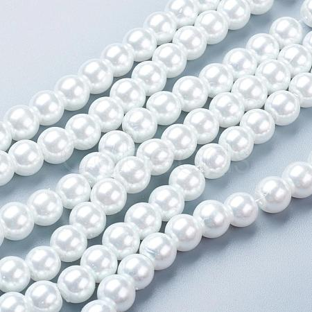 White Glass Imitation Pearl Round Loose Beads For Jewelry Necklace Craft MakingX-HY-8D-B01-1
