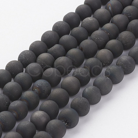 Electroplated Natural Agate Bead StrandsG-P222-09-1