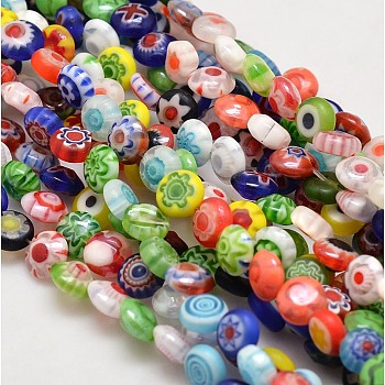 Handmade Millefiori Glass Flat Round Bead Strands, Single Flower Design, Colorful, 6x2.5mm, Hole: 1mm, 66pcs/strand, 15.9