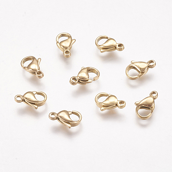 304 Stainless Steel Lobster Claw Clasps, Golden, 11x7x3.5mm