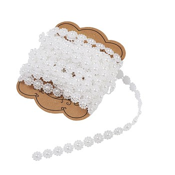 ABS Plastic Imitation Pearl Garland Strand, Great for Door Curtain, Wedding Decoration DIY Material, Flower, White, 10mm, 5mm/set
