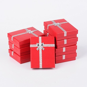 Cardboard Pendant Necklaces Boxes, with Bowknot Outside and Sponge Inside, for Necklaces and Pendants, Rectangle, Red, 90x70x30mm