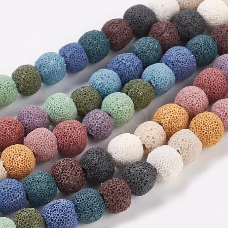 Natural Lava Round Beads StrandsG588-1