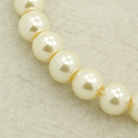 Pearlized Glass Pearl Round Beads StrandsX-HY-4D-B02-1