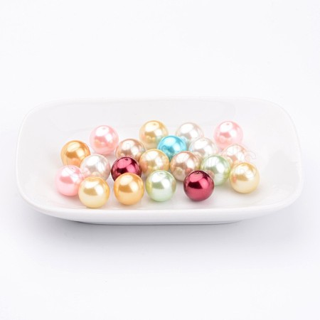 Environmental Dyed Glass Pearl Round Bead Strands X-HY-A002-12mm-M-1