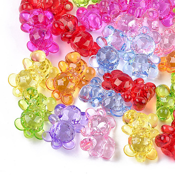 Transparent Acrylic Pendants, Faceted, Bear, Mixed Color, 34.5x25x16mm, Hole: 3mm