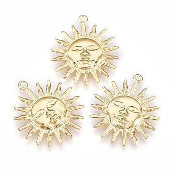 Rack Plating Brass Pendants, Sun, Golden, 25x22x1mm, Hole: 1.5mm