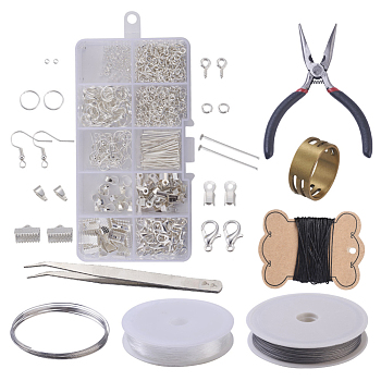 DIY Jewelry Sets, Brass Crimp Beads and Iron Findings, with Tools, Silver Color Plated, 13x6.8x2.1cm