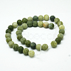 Round Frosted Natural TaiWan Jade Bead StrandsG-M248-8mm-02-3