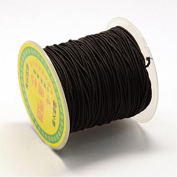 Round Elastic Cord, with Fibre Outside and Rubber Inside, Black, 1.2mm; about 35~40m/roll