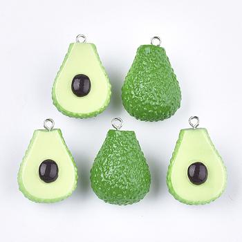 Resin Pendants, with Platinum Tone Iron Findings, Imitation Food, Avocado, Green, 29~31x21x17mm, Hole: 2mm