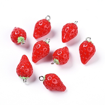 Resin Pendants, with Platinum Tone Iron Loop, Imitation Food, Strawberry, Red, 21.5x12mm, Hole: 2mm