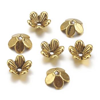 Tibetan Style Flower Alloy Bead Caps, 5-Petal, Cadmium Free & Nickel Free & Lead Free, Antique Golden, 9x3mm, Hole: 1.5mm