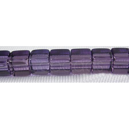 4~5mm Cube Transparent Purple Glass Beads StrandsX-GS4mm-C07-1