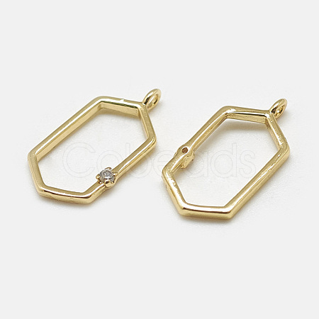 Brass Open Back Bezel Pendants KK-N200-037-1